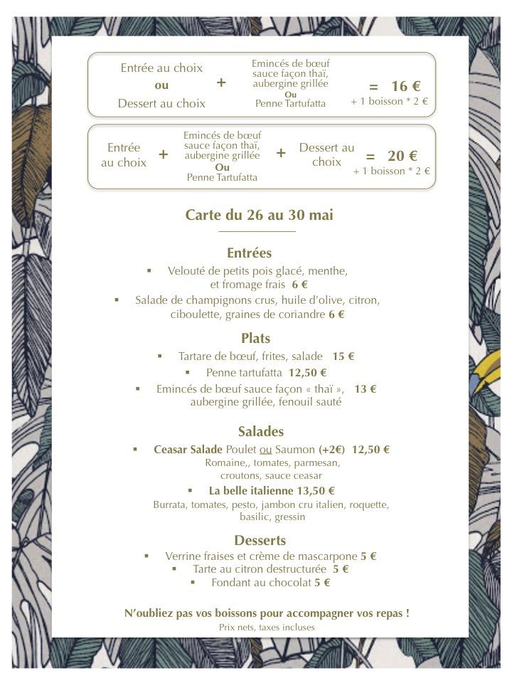 restaurant Senlis vente à emporter La bohème carte