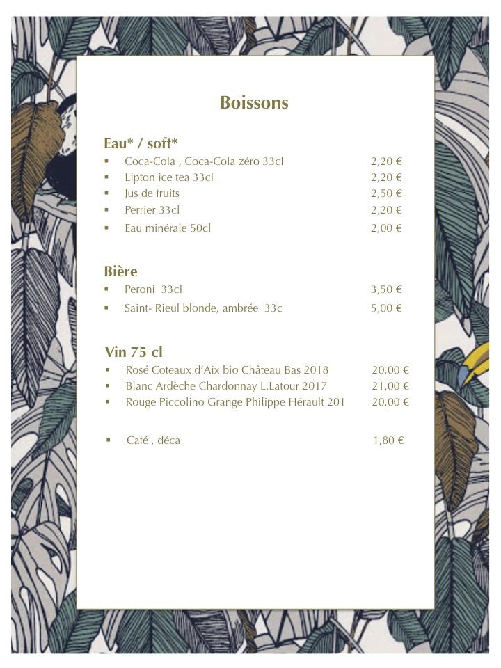 Restaurant La bohème Senlis carte vente à emporter