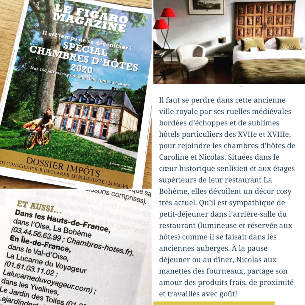 Presse Parution Le Figaro Spécial chambres d'hôtes 2020
